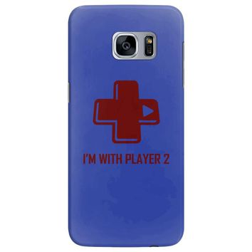 i'm with player 2 video game gamer computer geek nerd funny tee shirt Samsung Galaxy S7 Edge
