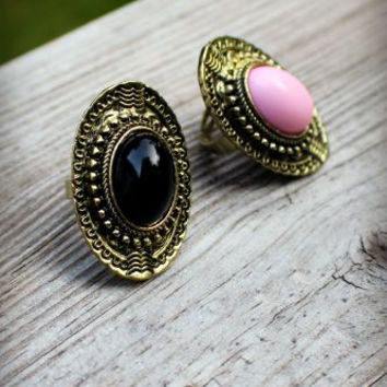 Black & Pink Boho Meets Vintage Rings
