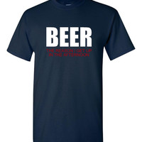 BEER the Reason I Get up In The Afternoon Great Tee Gift For ALL Xmas College Funny T Shirt Unisex Mens Womans