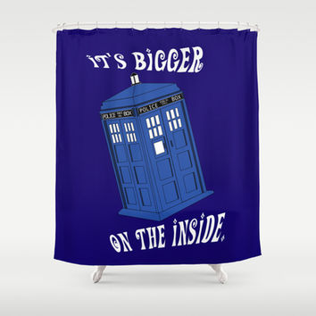 Doctor Who TARDIS Shower Curtain by Midnight House Elves | Society6