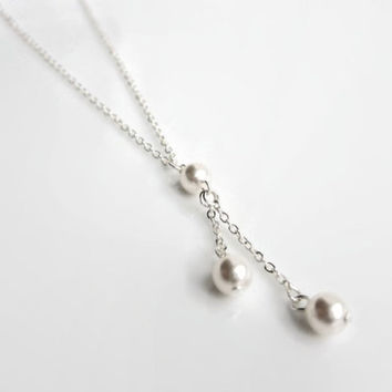 Pearl drop necklace, gift for mum, bridesmaid gift, bridesmaids necklace, pearl necklace gift, Christmas gift, Pearl jewellery