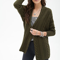 FOREVER 21 Cable Knit Batwing Cardigan