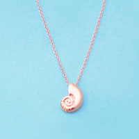 Ariel voice, Seashell, Rose gold, Necklace, Shell, Necklace