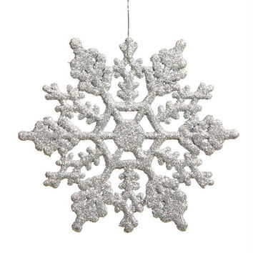 24 Christmas Ornaments - Silver Glitter Snowflake
