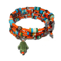Beaded Orange Memory Bracelet with Olive Hamsa Bead