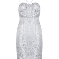 Honey Couture SKYLA Silver Panelled Thin Strap Midi Dress