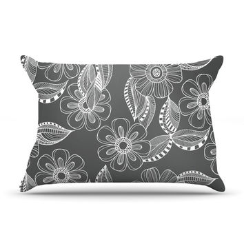 "Louise Machado ""Floral Ink"" Gray White Pillow Sham"