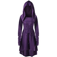 Gothic Dresses Lace Up Hooded Irregular High Low Dress Bandage