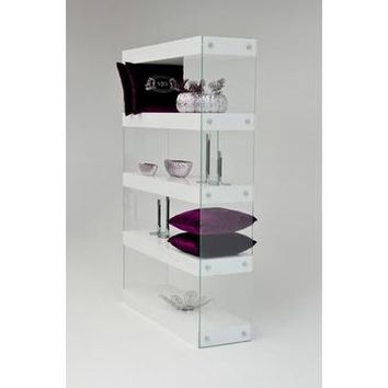 VIG Modrest Aura Modern Floating Bookcase In White