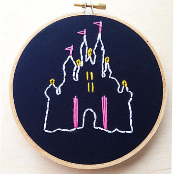 Disneyland Inspired Black Embroidery Hoop Walt Disney World Mickey Mouse Sleeping Beauty Magic Kingdom Disney Art Disney Hand Embroidery