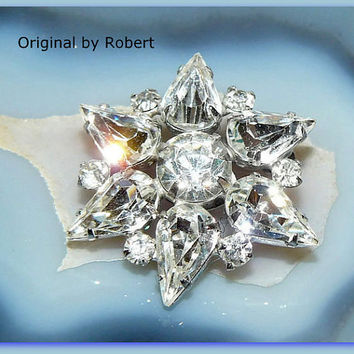 Robert Rhinestone Brooch, Star Brooch, Original by Robert