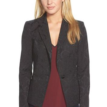 Women's CeCe by Cynthia Steffe One-Button Jacquard Blazer,