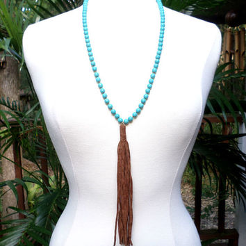 Turquoise Beaded Brown Suede Leather Tassel Drop Long Necklace, gift