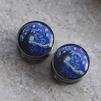 "Starry Night Plugs - One PAIR - Sizes 2g, 0g, 00g, 7/16"", 1/2"", 9/16"", 5/8"", 3/4"", 7/8"", 1"" - Made To Order"
