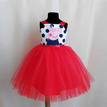 Soft Red Peppa Pig Birtday Dress, Peppa Pig Red Tutu Dress, Peppa Pig Party, Birthday Outfit