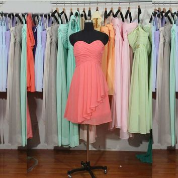 Coral Bridesmaid Dress A-line Sweetheart Short Chiffon Bridesmaid Dress