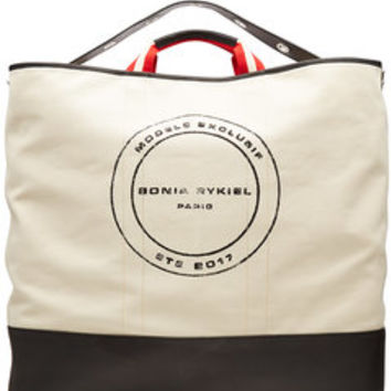 Printed Canvas Tote with Leather - Sonia Rykiel | WOMEN | US STYLEBOP.COM