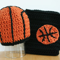 Basketball Diaper Cover and Hat combo for 12-24 months, toddler basketball outfit, baby basketball outfit, crochet photo prop