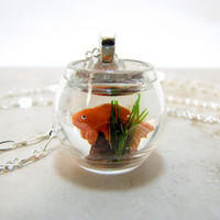 Goldfish Gold Fish Bowl Necklace Pet Goldfish On The Go