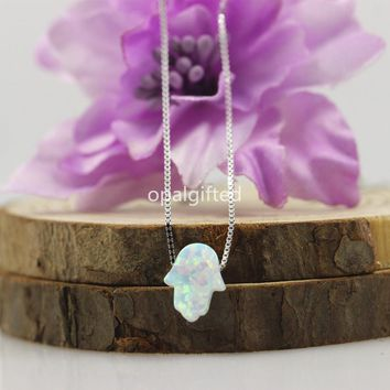 MOQ=1 Pc Hot! 8*10mm Opal Hamsa Necklace With 925 Silver Chain Fancy Opal Hamsa Hand Pendant 12 Colors To Optional Free Shipping