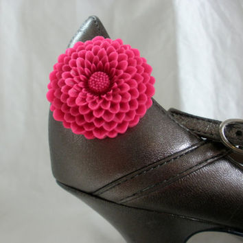 Fuschia Fever Pink Shoe Clips Pair Set of 2 flower prom wedding bridesmaid accessory shoes shoeclips