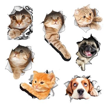PVC 3D Cartoon cat/dog Wall Sticker Decals Home DIY Decor Wall For Living Room Bedroom Kitchen WC Children's Room Decorations JS