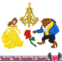 Disney BEAUTY and the BEAST Dress It Up Jesse James Buttons and Rose Flatback Cabochon