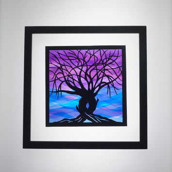2 Trees Of Life CUSTOM ORDER, ORIGINAL Design Silhouette Paper Cut in Shades of Blues & Purples Handmade Wall Art Framed Signed OOaK