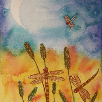 """ORIGINAL Watercolour Painting - Dragonfly Moon Nursery Art - """"Amongst the Reeds"""""""