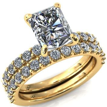 Mylene Radiant Moissanite 4 Prong Sculptural Half Eternity Diamond Engagement Ring