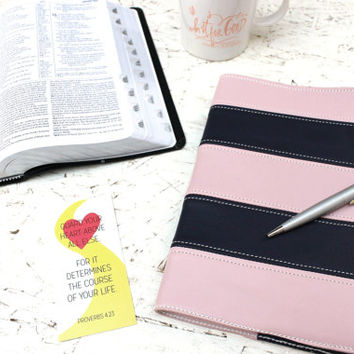 Leather Journal Cover, pink and navy stripes, nautical journal, prayer journal, refillable journal cover, handmade leather diary