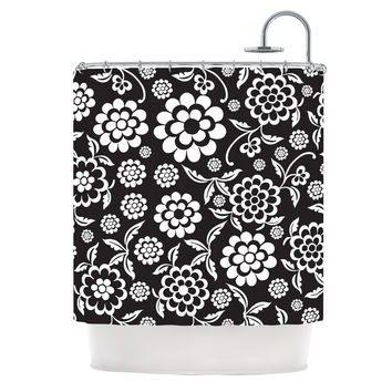 "Nicole Ketchum ""Cherry Floral Black"" Shower Curtain"