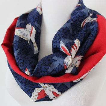 Bird Pattern Scarf, Red White Navy Blue Bird Print Loop Scarf, Bird Print Scarf, Women's Scarves, Fashion Scarf, Bird Obsessed, Gift For Her