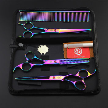 7.0 Inch Japan High Quality Professional Pet Scissors With Case Bag Dog Cat Tesoura Pet Grooming Cutting Scissors Kit Shears Set