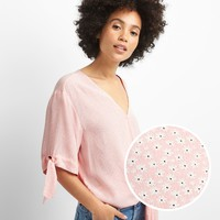 Short Sleeve Wrap-Front Tie Blouse | Gap