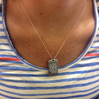 Monogrammed Military Tag Necklace | Necklaces | Marley Lilly