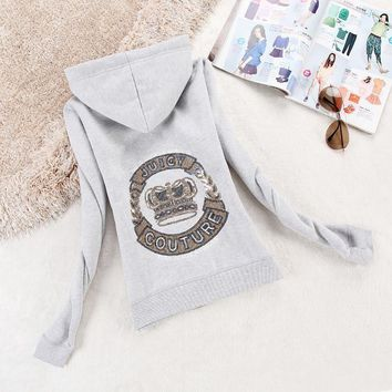 Juicy Couture Logo Crown Velour Jacket 2198 Women Hoody Grey - Ready Stock