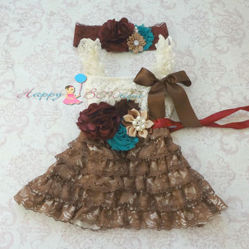 Chocolate beige Fall Teal lace dress,  Flower girls dress, Brown lace Dress,baby dress,Birthday outfit, Thanksgiving, fall outfit,girl dress
