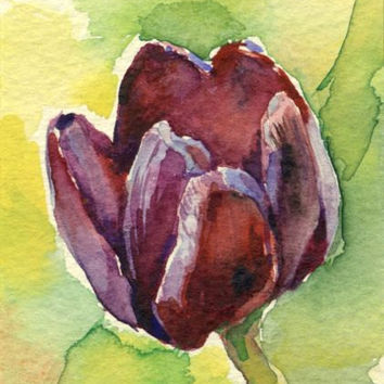 "Artist Trading Card, ACEO Original watercolor painting ""Tulip"", paper"