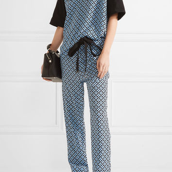 Marni - Printed silk crepe de chine and cotton top