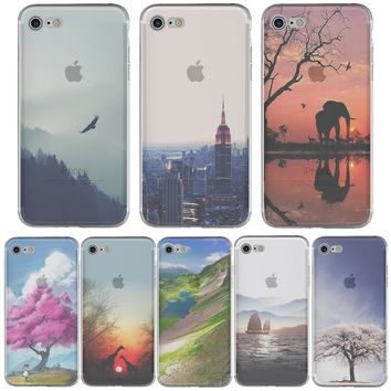 Luxo Landscape Ocean Natural Mountain Paysage Tower Phone Case Soft TPU Silicon Transparent for iphone 6 6s 6splus 7 7plus 5S SE