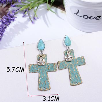 Cross Design Stone Drop Earrings