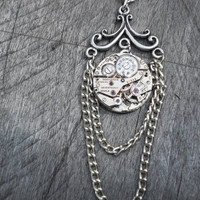 Clockpunk Steampunk Victorian - Style Pendant Necklace, Watch Movement on Antiqued Silver with Double Drop Curb Chain