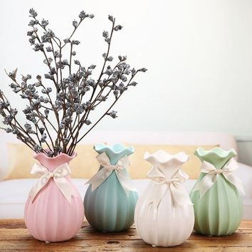 Home Decor Ceramic Vase Chinese Arts Crafts Desktop Decor Contracted Porcelain Flower Pink Blue White Vase Creative Gift