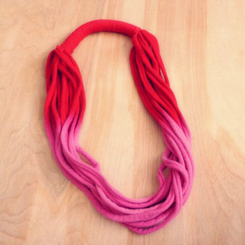 Pink & Red Dip Dye - Infinity Scarf / Necklace
