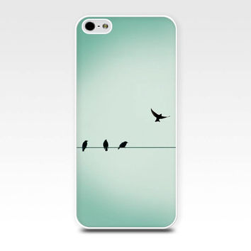iphone 5s case birds in flight iphone 4 4s 5 case birds on a wire photography fine art iphone case 5 nature flock of birds mint green blue