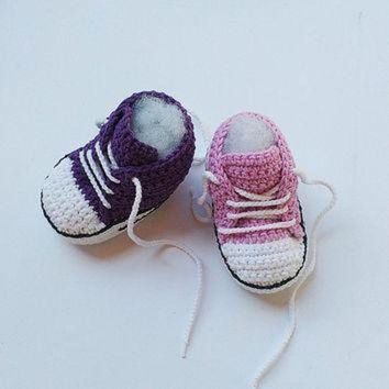 DCKL9 Pink Crochet Baby shoes, Purple Crochet Baby shoes, Baby sneakers, Converse style croc