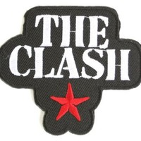 """THE CLASH Star Logo Iron On Punk Embroidered Patch 2.9""""7.5cm x 2.5""""/6.5cm By MNC Shop"""