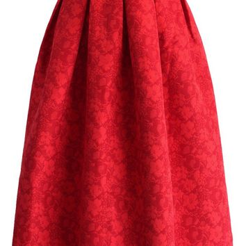 Ruby Floral Jacquard Pleated Skirt