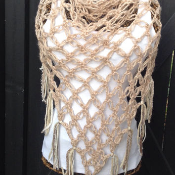 Crochet Love Knot Shawl,Open Weave Wrap,Gypsy Clothing,Hippie Clothes,One Size,Womens Clothing,Cream,Fringe,Soft,Celtic Love Knot,Sale,Gift